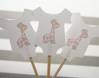 Baby Shower, Cupcake Toppers, Baby Shirt, Pink Giraffe, Girl, Party Picks, Food Picks, CT055