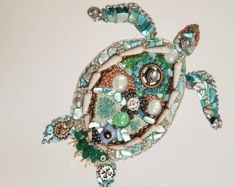 Mosaic Sea Turtle on canvas