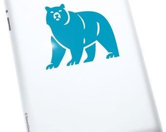"Bear Decal / Bear Window Sticker / Brown Bear Laptop Decal / Cave Bear Car Sticker / Woodland Bear Tablet Decal /  3.25""h x 3.75""w / #599"