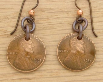 For 60th: 1958 Dark Copper US Penny Earrings 60th Birthday or 60th Anniversary Gift Coin Jewelry