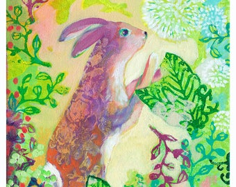 Whimsical Bunny with Flowers Art - Fine Art Print by Jenlo