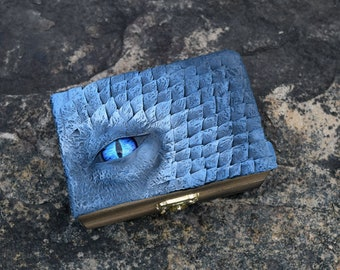 Wooden Keepsake Box with Blue Dragon Eye and Scales