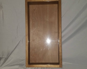 Handcrafted 11 x 21 x 4 Inch Wooden Shadow Box with Glass Top Hinged Lid