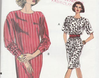 Vogue 7740 Vintage Pattern WomensSemi Fitted Dress in 2 Variations Size 14,16,18