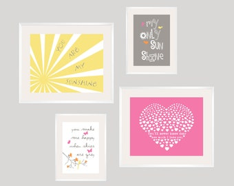 Kids Wall Art Yellow, Grey and Pink You Are My Sunshine Print Set 8x10 and 5x7- Eclectic style Gallery wall Art - YassisPlace