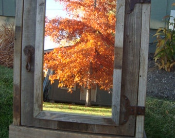 Rustic reclaimed Medicine Cabinet with mirror,  Barnwood Medicine Cabinet, Vintage Medicine Cabinet,