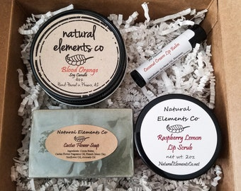 Summer Time Gift Set~ Candle~Lip balm~Lip scrub~Soap~Mother's Day~Birthday~Thank you gift