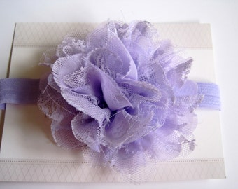 Lavender Lace Chiffon Baby Headband, Infant Headbands, Baby Girl Headbands, Infant Bows, Baby Bows, Newborn Headbands
