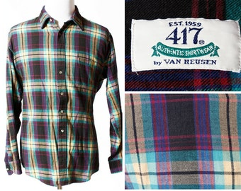 Vintage Men's Shirt Van Heusen Plaid - 90s Retro Long Sleeve Button XL Tall Extra Large 417