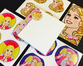 1980s BARBIE Stationery Set (80s Vintage Doll Design, Post-Its, Stickers and Magnet)