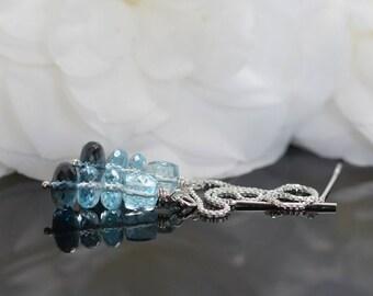 Swiss Blue topaz earrings, London Blue topaz ear threaders, bridal earrings, blue gemstone earrings, topaz jewelry, silver threaders