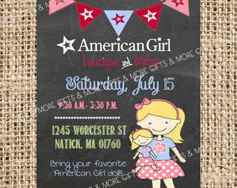American Girl Blond Hair with Blue Eyes  *** Party PRINTABLE PERSONALIZED INVITATION***