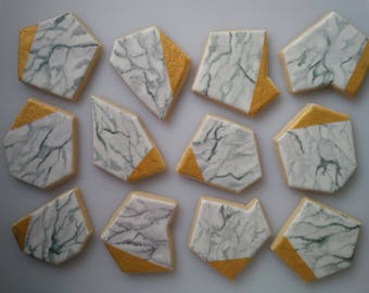 Gold-Dipped White Marble Shard Cookies - One Dozen Decorated Shower / Wedding / Mother's Day Cookies