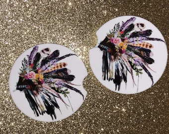 Car Coasters {Set of 2} Floral Indian Headdress Car Coasters, Personalized Car Coasters, Birthday gift for her, Gift for girlfriend