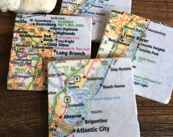 New Jersey Shore map coasters