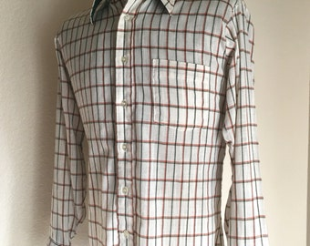 Vintage Men's 60's Shirt, Off White, Green, Red, Checkered, Long Sleeve, Button Down (L)