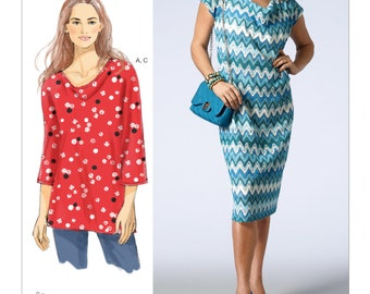 Vogue V1386  Misses' Cowl-Neck Tunic, Dress and Slip – Today's Fit by Sandra Betzina