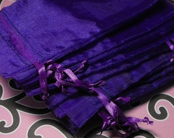 TAX SEASON Stock up 12 Pack Purple Sheer Organza Drawstring Bags  Great For jewelry,sachets,Gifts 4X6 inch Size