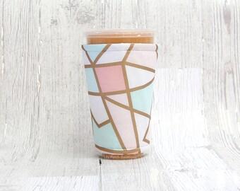 Minze und Pfirsich geometrische Tasse gemütlich, Geeiste Kaffee gemütlich, Tasse Ärmel, Kaffee Manschette, isolierten Tasse Ärmel