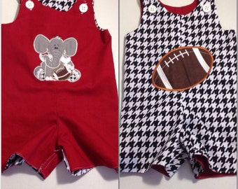 Game day reversible romper, jon jon, long jon or short all, elephant and football, red crimson  and houndstooth