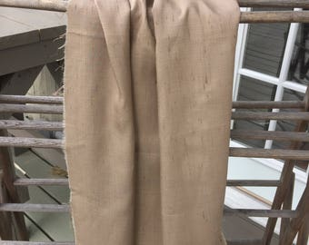 Taupe beige raw silk dupioni fabric vintage