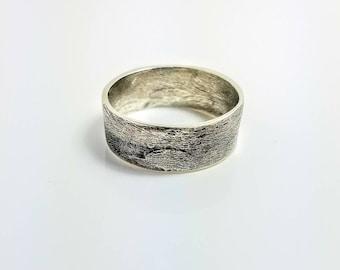 Mens Wedding Band Mens Rustic Wedding Band Silver Wedding Band Viking Wedding Band, Engraved Wedding Band  hammered silver gift for him