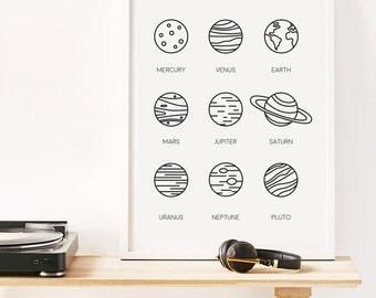 Space Poster, Minimalist Print, Planet Print, Home Decor, Bedroom Print, Modern Wall Art, Popular Items, Black and White, Illustration