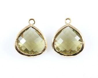 2pcs Olivine Faceted Glass Charm in Gold, Framed Drop Glass Bead / Gems / 16k Gold / Olive / 15mm x 18mm / GOVG-001-P (Large)