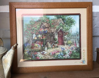 Home Interiors And Gifts Potting Shed Picture/Barbara Mock/Large/Framed/Signed/Floral