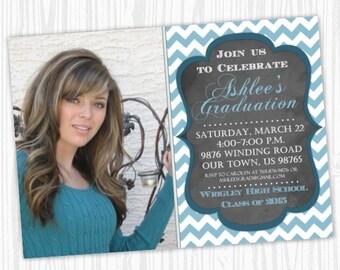 Printable Graduation Announcement Design, Chalkboard Graduation Invite, Chevron Grad Invitation, CUSTOM, 4x6 or 5x7 photo card - YOU PRINT