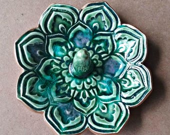 Ceramic Lotus Ring Holder Ring Bowl  Ring Dish with gold edging Peacock green