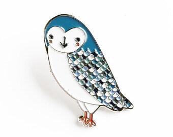 Owl Lapel Pin, Owl Enamel Pin, Enamel Owl Brooch, Kids Owl Jewelry, Owl Lapel Brooch, Animal Pin