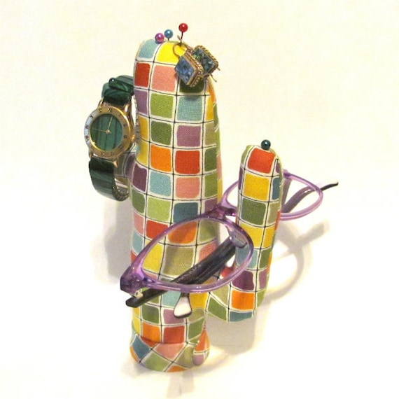 Tall Colorful Checks CACTUS-Stand ~ Eyeglass Watch Holder ~ Ready to Ship