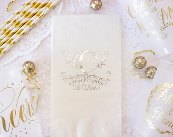 Wedding Guest Towels, Monogram Napkin, Wedding Napkins, Personalized Napkins, Silver Wedding Decor, Wedding Gift, Silver Metallic Foil