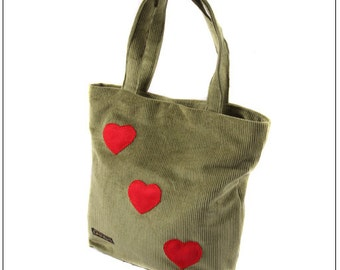 Green Corduroy bag, with applique Heart decoration.