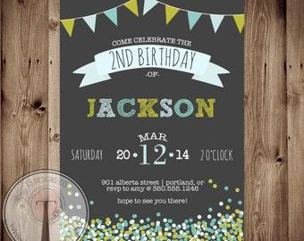 Confetti birthday invitation, chalk, girls birthday, tween birthday, 1st, 2nd, 30th birthday, 40th, 21st birthday, party invitation, any age