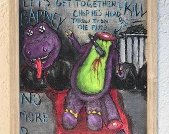 Original Barney Purple Dinosaur Death Scene painting