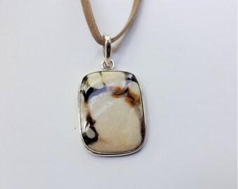 Sterling Silver Jasper Pendant, Cushion Shape Wood Jasper on Faux Suede Cord