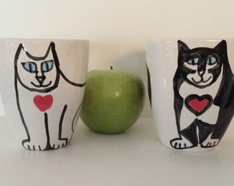 Cat ceramic mug: Coffee cup wearing heart pottery feline design whimsical happy kitty foodsafe