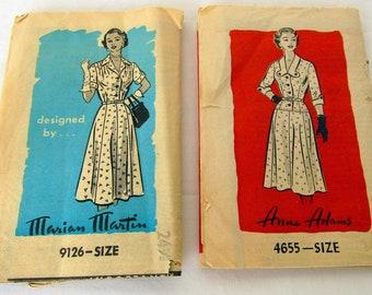 2 Women's Dress Pattern Circa 40's - 50's Meriam Martin, Anne Adams