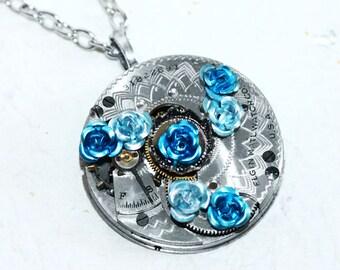 Steampunk Necklace - Blue Aquamarine Rose ELGIN GUILLOCHE ETCH Antique Pocket Watch Movement Steampunk Necklace Wedding Gift Anniversary