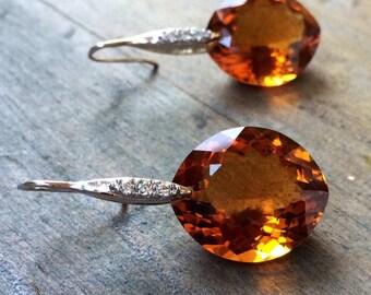 Madeira Citrine Earrings Pave Sterling Silver. Precious stone
