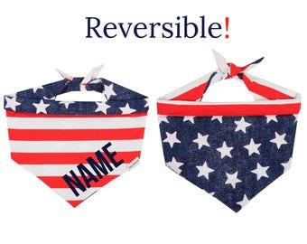 4th of July Dog Bandana Personalized, Patriotic Dog Bandana with Name, American Flag Personalized Dog Bandana, Stars and Stripes Dog Bandana