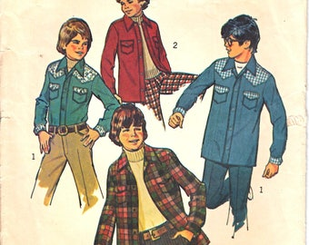 Simplicity 6641 Boy Western Shirt, Front Placket Shirt, Country Shirt, Unlined Shirt-Jacket Sewing Pattern Size 7 or 8 Vintage 1970s