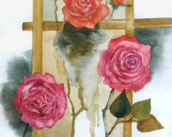 Original (not print) art watercolor painting - Roses Ikebana