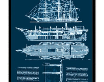 Nautical Antique Blueprint of a Ship - Technical Drawing of a Steam Ship from 1887 - 11.5 x 13.5 inch