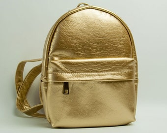 Eco leather backpack Mini backpack Gold backpack Vegan leather rucksack Small backpack Women rucksack City backpack Faux leather
