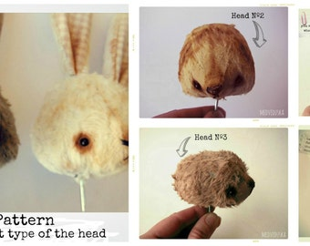 Pattern for 3 different type of the teddy bears creatures heads