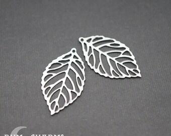 0157 - Pendant Connector, Glossy Original Rhodium, Small Pressed Leaf Vein Flat Filigree Pendant, 2 Pieces