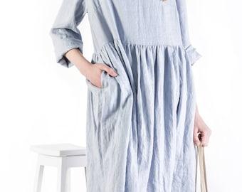 Linen dress / linen dress with pockets / handmade linen women's clothing / casual dress / loose linen dress / round neck dress